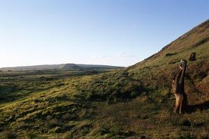 Chile, Easter Island, Rapa-Nui National Park, Rano Raraku, Anthropomorphic 'Moai' Monoliths
