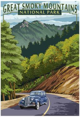 Chimney Tops and Road - Great Smoky Mountains National Park, TN