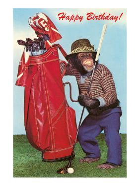 Chimpanzee with Golf Bag