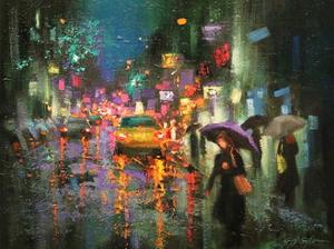 Night Rain in Village by Chin H. Shin
