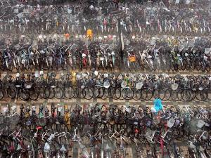Chinese Conmuters' Bikes are Lined up