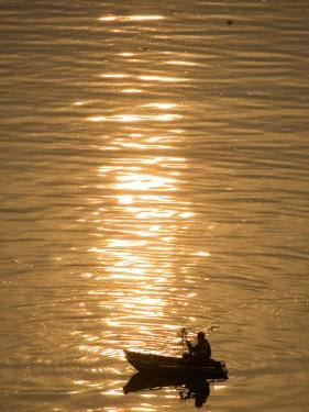 Chinese Man Fishing Along the Yangtze River, Just Upriver of the Three Gorges Dam in China