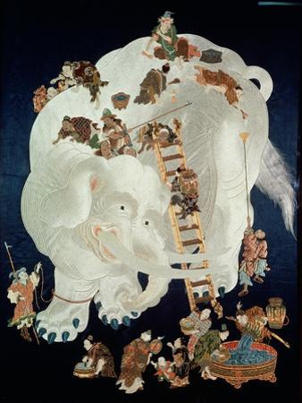 Chinese Washing a White Elephant, Gift Cover, 1800-50
