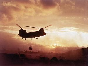 Chinook Helicopter Lifts Ammunition