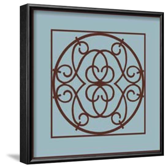 Chocolate and Blue Ironwork III-Chariklia Zarris-Framed Art Print