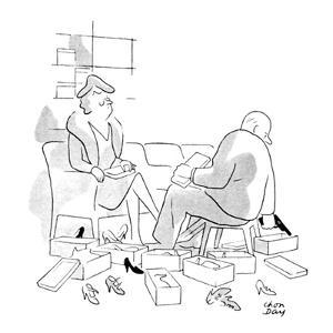 Shoe salesman has shown lady many pairs of shoes and is about to reach for? - New Yorker Cartoon by Chon Day