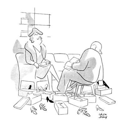 Shoe salesman has shown lady many pairs of shoes and is about to reach for… - New Yorker Cartoon by Chon Day