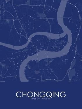 Chongqing, China Blue Map