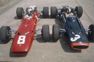Chris Amon and Jackie Stewart at the British Grand Prix, Silverstone, Northamptonshire, 1967
