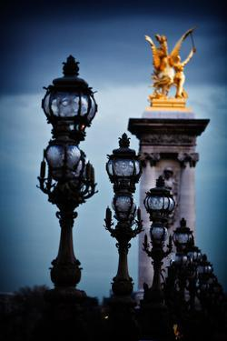 Gold Statues and Street Lamps in Paris, France by Chris Bickford