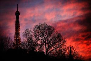 The Eiffel Tower During a Red Sunset in Paris, France by Chris Bickford