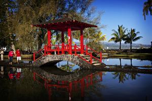 The Iconic Red Bridge in the Japanese Gardens in Hilo, Hawaii by Chris Bickford