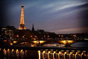 The Seine River and the Eiffel Tower after Sunset in Paris, France by Chris Bickford