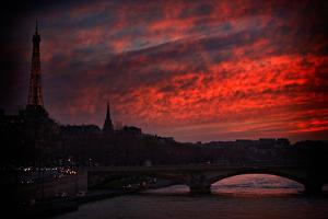 The Seine River and the Eiffel Tower During a Red Sunset in Paris, France by Chris Bickford