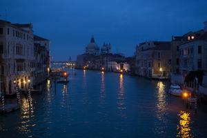 The Skyline and Canals of Venice at Night by Chris Bickford