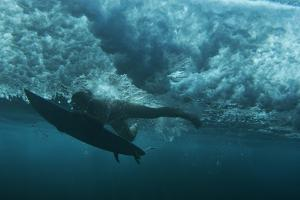 Underwater View of a Surfer in Waipi'O Bay by Chris Bickford