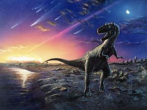 Tyrannosaurus Rex Fleeing From An Asteroid Strike by Chris Butler