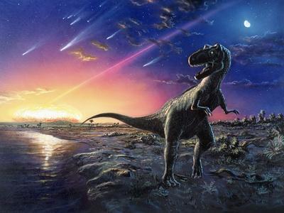 Tyrannosaurus Rex Fleeing From An Asteroid Strike