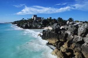 Mexico, Yucatan Peninsula, Carribean Sea at Tulum, the Only Mayan Ruin by Sea by Chris Cheadle