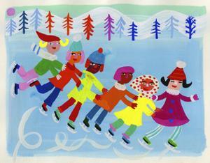 Children Ice Skating on Frozen Lake by Chris Corr