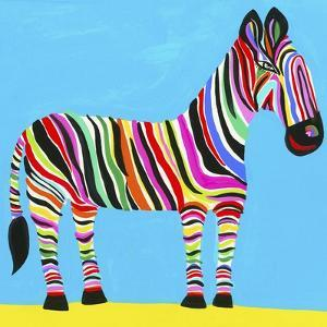 Colorful Zebra with Multicolored Stripes by Chris Corr