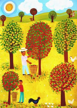 Family Picking Apples in Orchard by Chris Corr