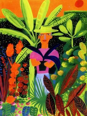 Gardener Holding Potted Plant in Tropical Garden by Chris Corr