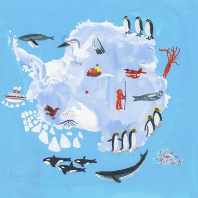 Illustrated Map of Antarctica by Chris Corr
