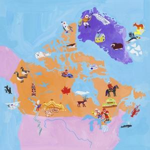 Illustrated Map of Canada and Greenland by Chris Corr