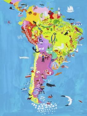 Illustrated Map of Central and South America by Chris Corr