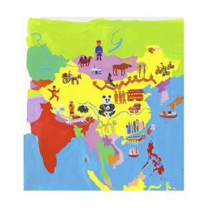 Illustrated Map of China, Hong Kong, Mongolia, Taiwan and Nepal by Chris Corr