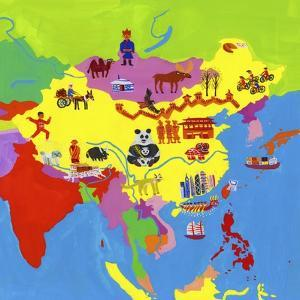 Illustrated Map of China, Mongolia and Taiwan by Chris Corr