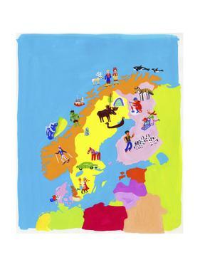 Illustrated Map of Scandinavia by Chris Corr