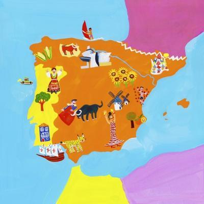 Illustrated Map of Spain and Portugal by Chris Corr