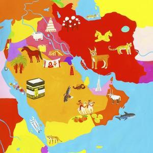 Illustrated Map of the Middle East by Chris Corr