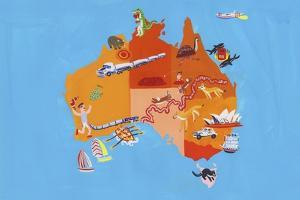 Illustrated Tourism Map of Australia and Tasmania by Chris Corr