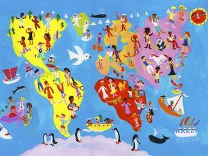 Illustrated World Map of People Enjoying Having Fun by Chris Corr