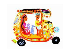 Man Driving Woman and Dog in Ornate Auto Rickshaw by Chris Corr