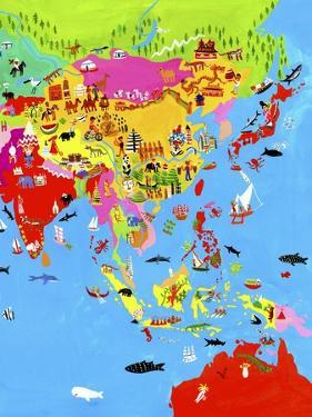 Map of Asia with Asian Culture and Wildlife by Chris Corr