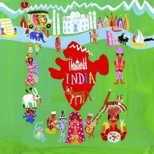 Map of India Surrounded by Indian People and Culture by Chris Corr