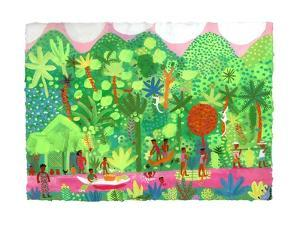 People in Forest on Riverbank and Swimming Along River by Chris Corr