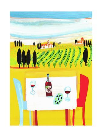 Red Wine on Table in Italian Vineyard