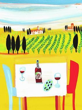 Red Wine on Table in Italian Vineyard by Chris Corr