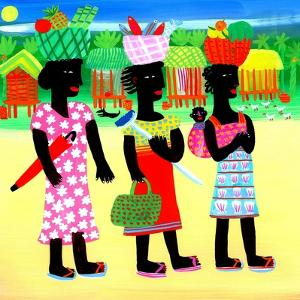 Three Women with Baskets on Heads by Chris Corr
