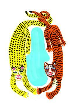 Tiger and Leopard on White Background by Chris Corr