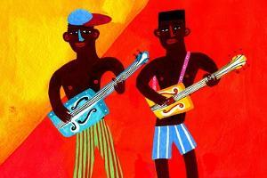 Two Men Playing Guitars by Chris Corr
