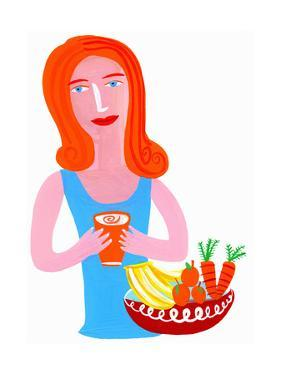 Woman Drinking Healthy Juice from Fruit and Vegetables by Chris Corr