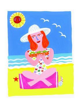 Woman on Beach Eating Sandwich by Chris Corr
