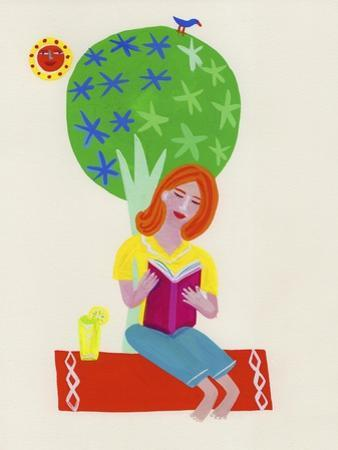 Woman Relaxing Reading Book under Tree on Sunny Day by Chris Corr
