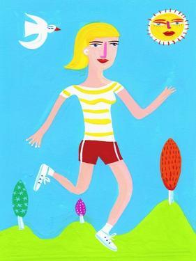 Woman Running on Sunny Day by Chris Corr